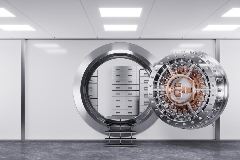 Bank vault door in premise bank. Safety concept.