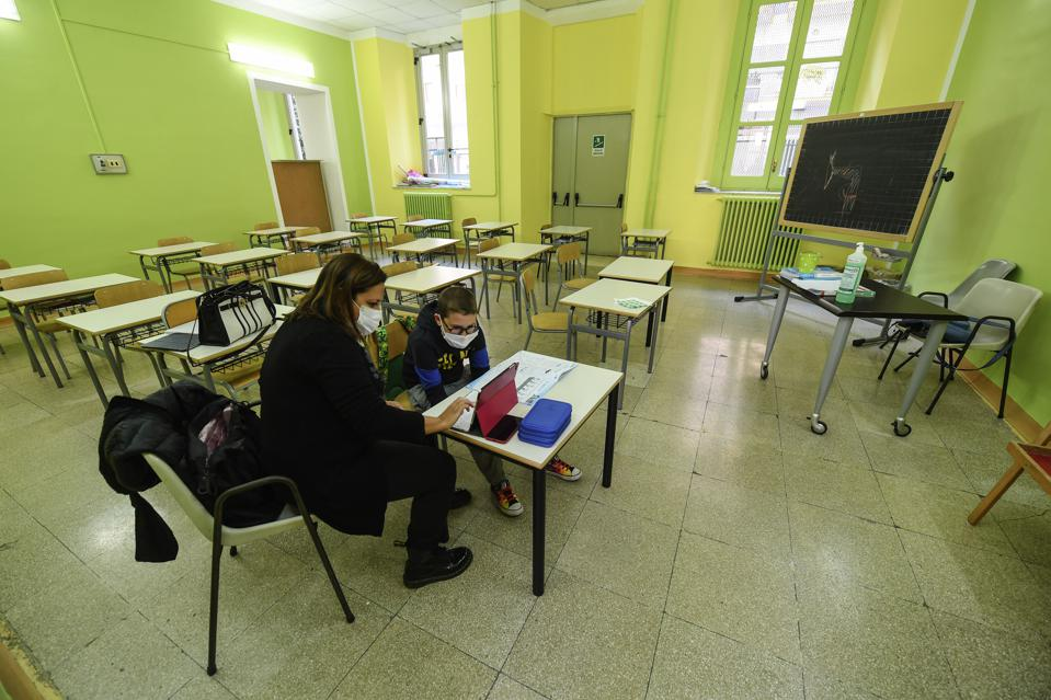 Schoolchildren with mental disabilities such as autism or...