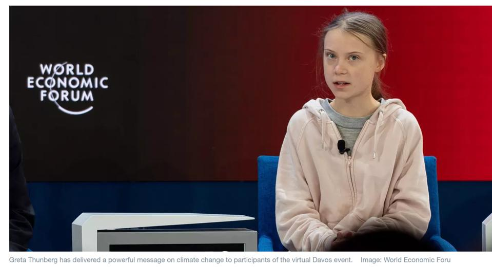 Screen shot of Greta Thunberg at WEF 2021, weforum.org