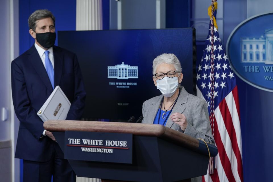 Press Secretary Jen Psaki And Climate Change Advisors Hold White House Press Briefing