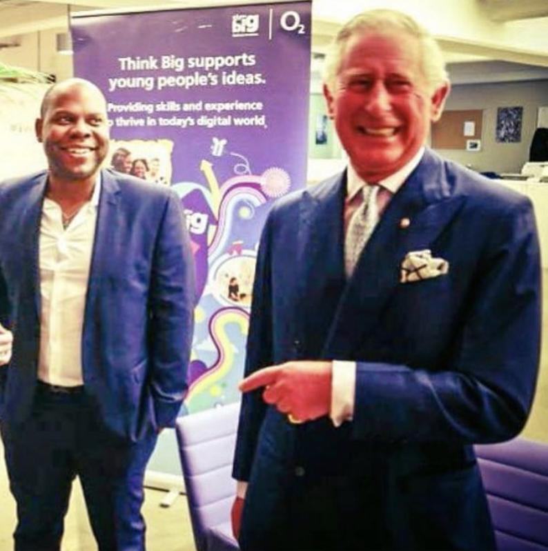 Prince Charles smiling in a photo taken at Wayra UK