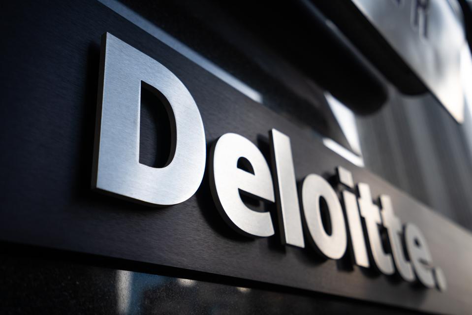 A view of a Deloitte logo...
