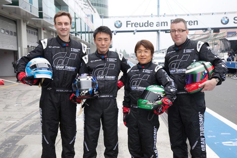 Lexus IS-F drivers in the 2010 Nurburgring 24-hours from left to right, Peter Lyon, Kazunori Yamauchi, Hideshi Matsuda and Owen Mildenhall.