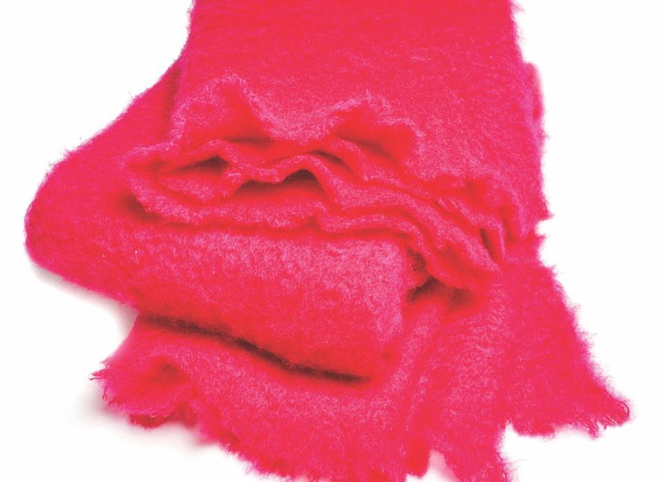 Hot pink mohair throw