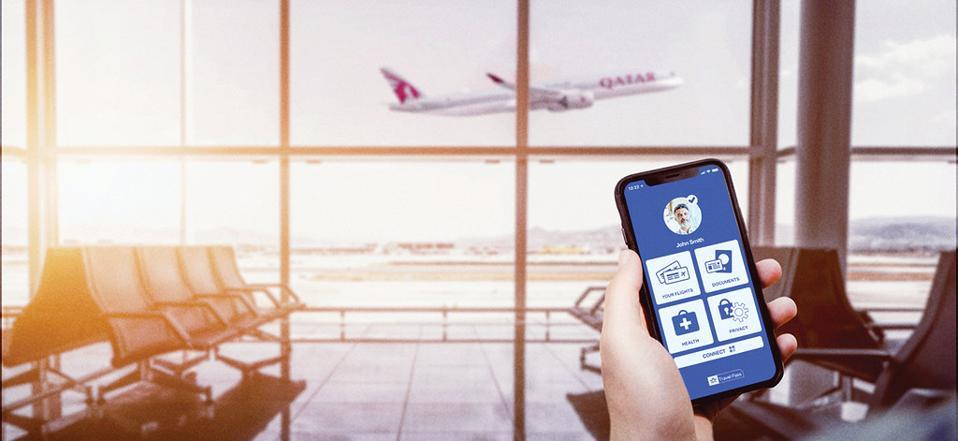 Qatar Airways IATA Travel Pass app on mobile phone