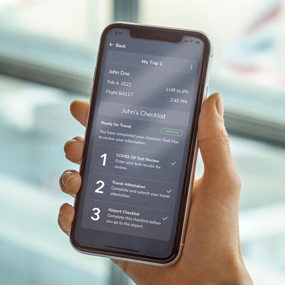 British Airways VeriFLY app, a digital health passport