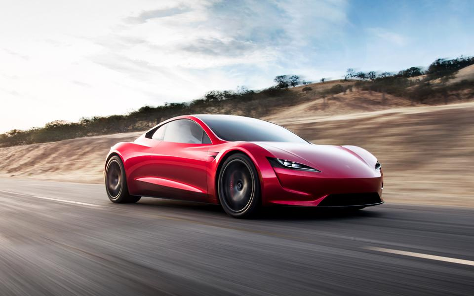 Front and side view of the Tesla Roadster electric supercar