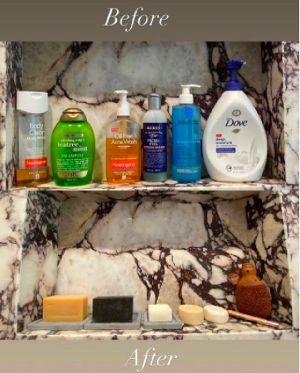 A bathroom shelf before and after shot, with plastic bottles before and zero plastic after