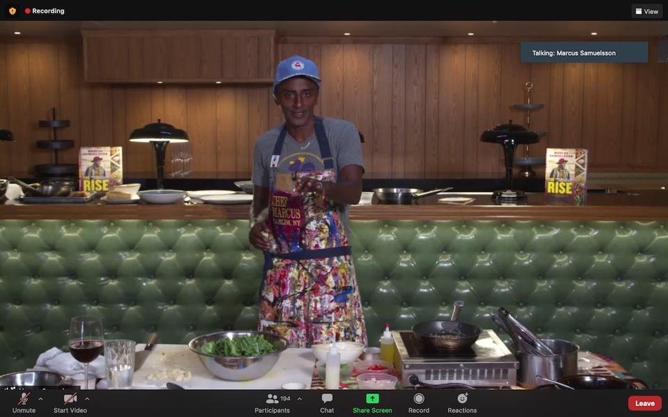 Almost 200 fans cooked with chef Marcus Samuelsson on Zoom via Goldbelly.