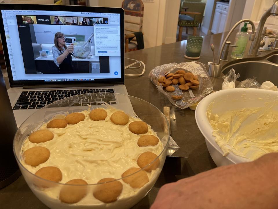 Making banana pudding with Magnolia Bakery on Zoom via Goldbelly.