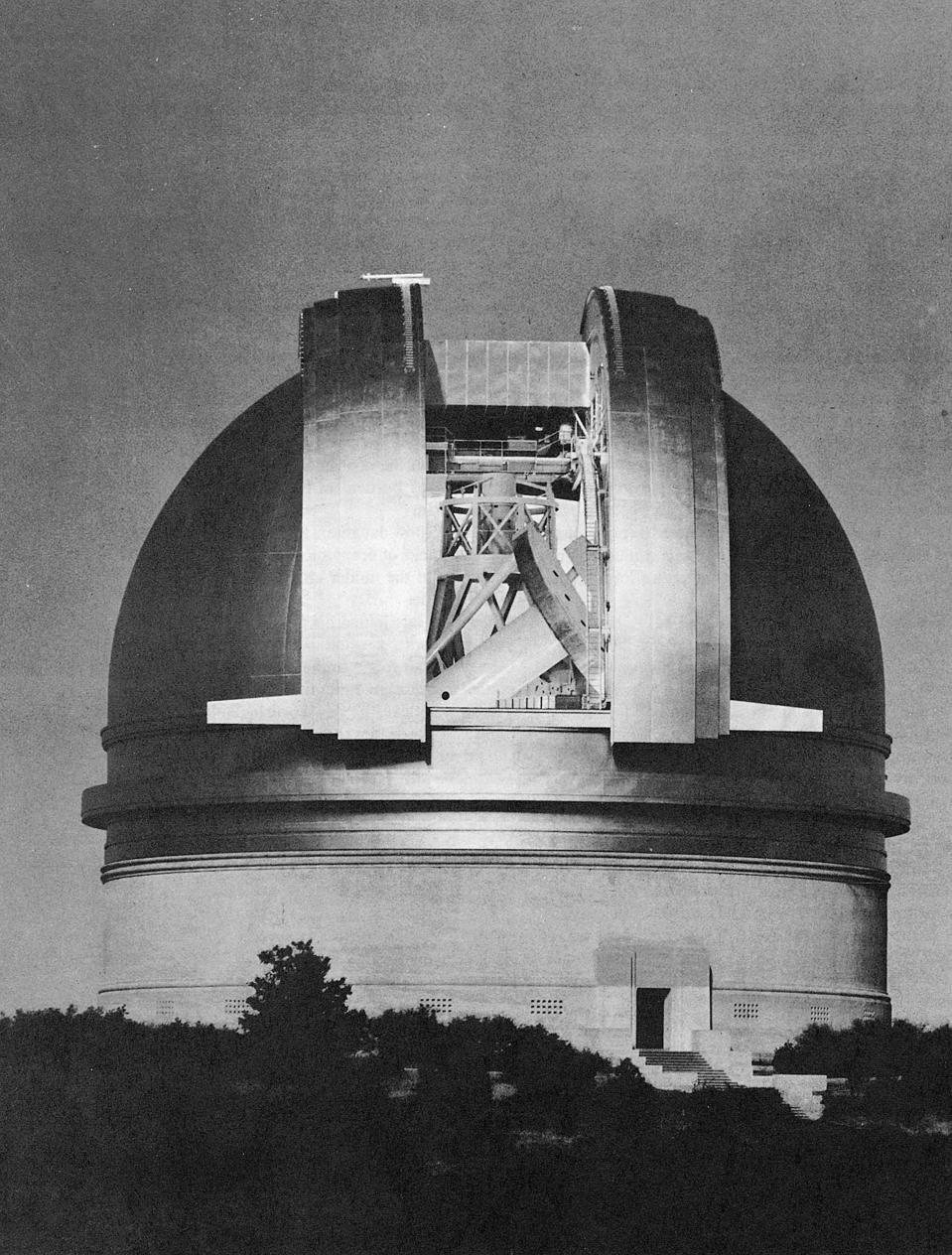 200 inch Hale telescope at Palomar Observatory shown at night