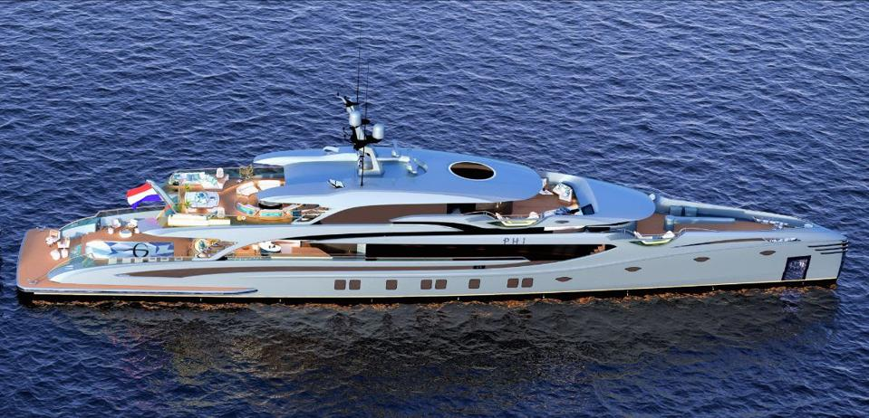 The 192-foot-long Phi from Royal Huisman will turn heads when she is launched later this year.