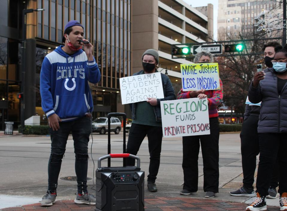 Student leaders of Alabama Students Against Prisons protest outside Regions Bank on December 28th.