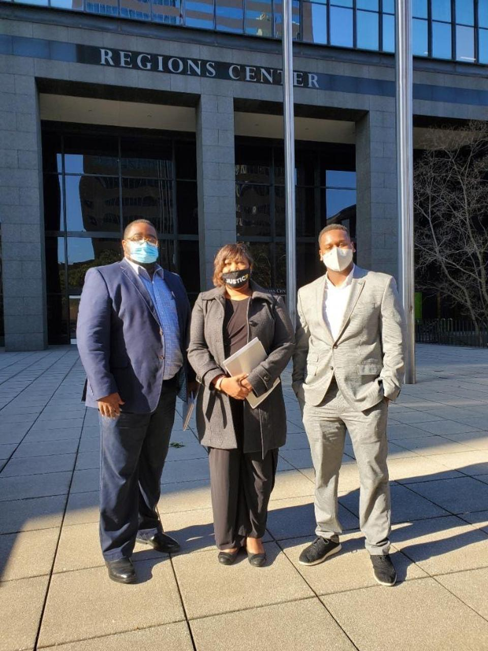 Lamar Black, Cara McClure and Joshua Thompson after meeting with Regions Bank