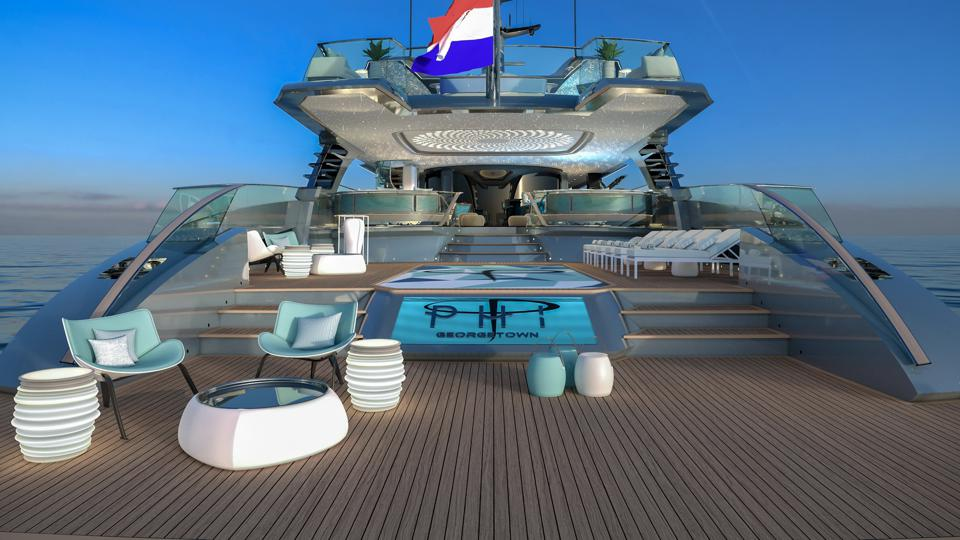 The spacious pool deck onboard the 192-foot-long PHI.