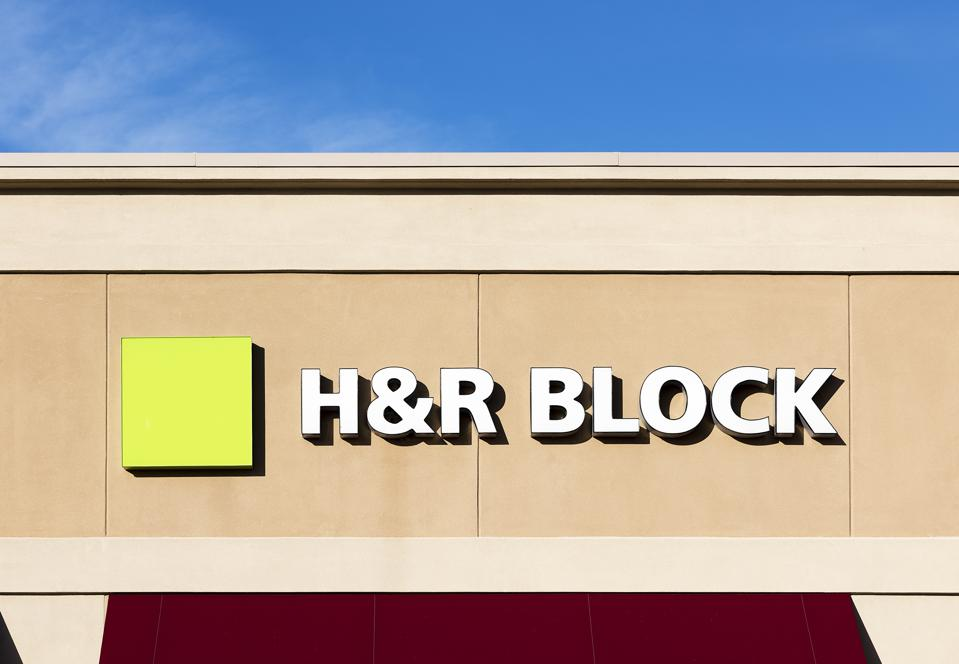 H&R Block tax preparation office exterior...