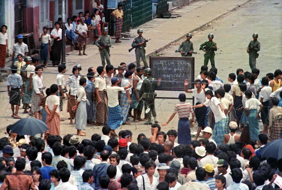 Troops order a crowd 26 August 1988 in d