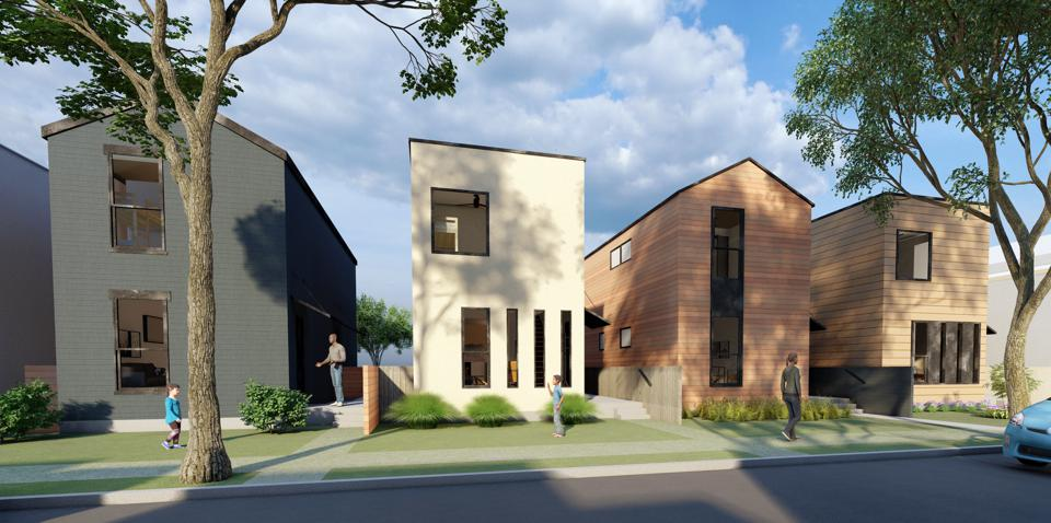 Render of four modular constructed homes, the first project of Inherent L3C