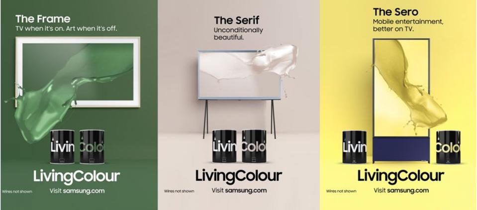 Samsung New LivingColour Paint Line Collaboration with Yinka Ilori, Kate Watson-Smyth, Whinnie Williams, Karen Haller, That Matches TV Screen Colors in Shades of Beige, Yellow and Green