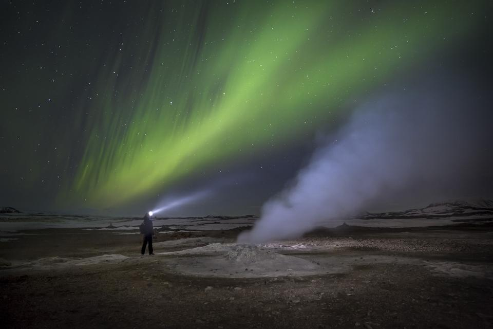 Northern Lights at the reindeer herders' camp, Yamal Peninsula, Russia.