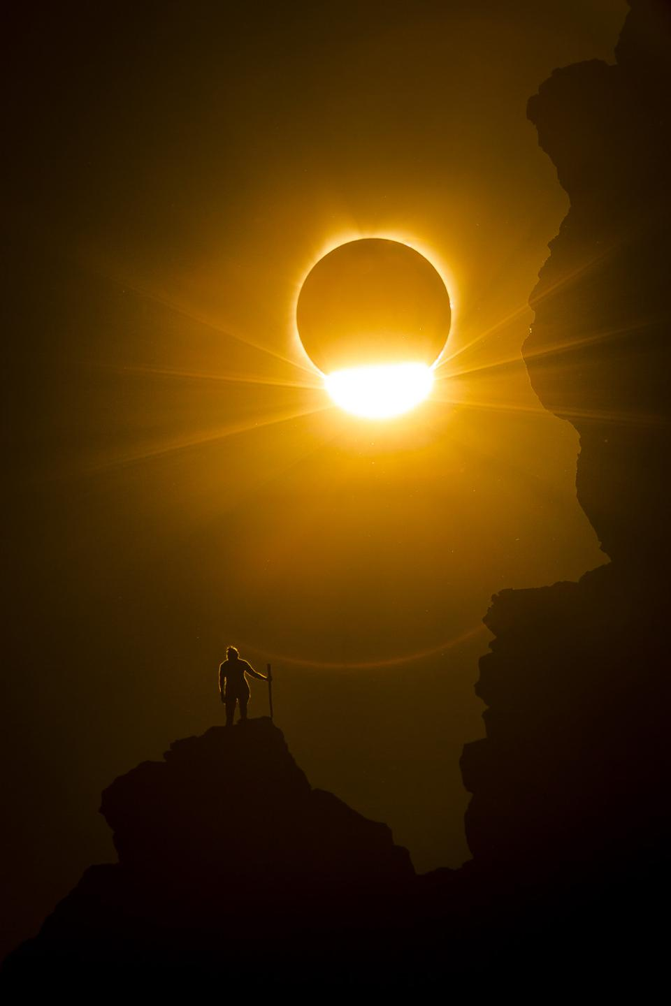 A total solar eclipse on August 21, 2017 from Smith Rock National Park, Oregon, USA.