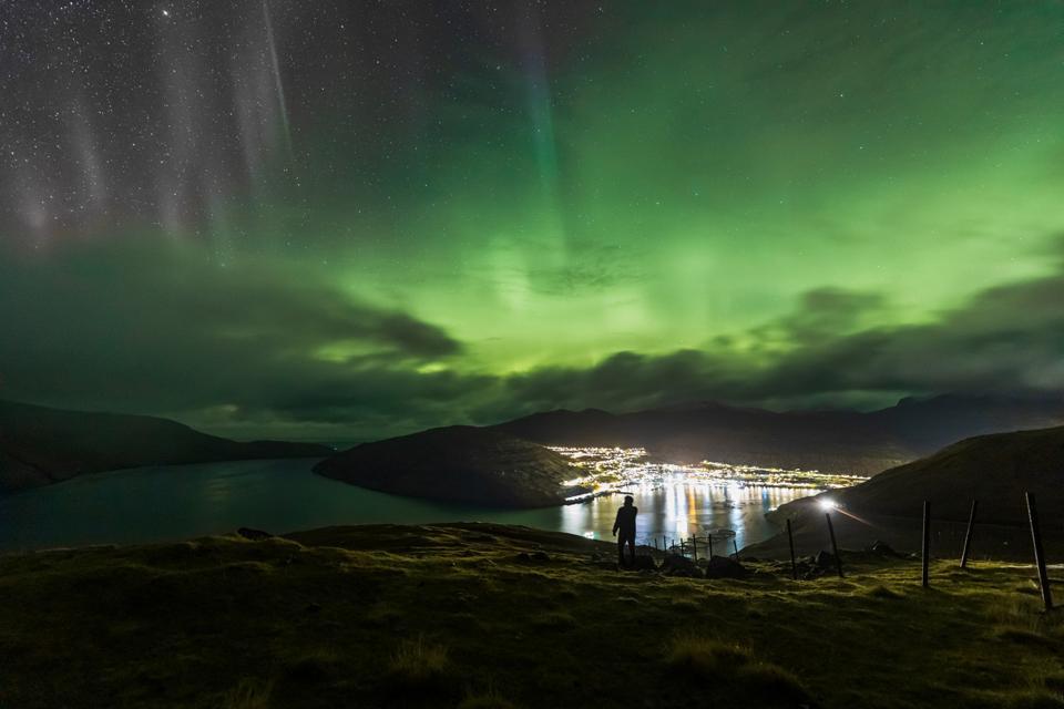 Northern Lights from Vestmanna, Streymoy, Faroe Islands.