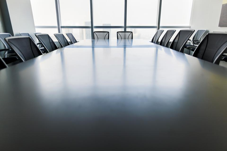 View of conference room table and chairs