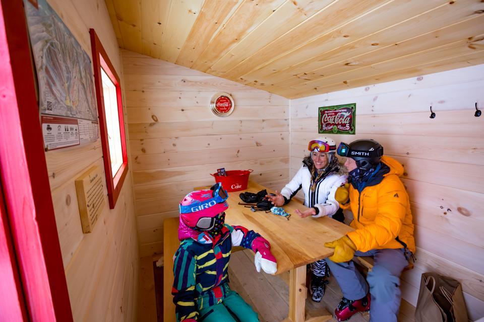 Inside a private cabana at Sugarbush Resort
