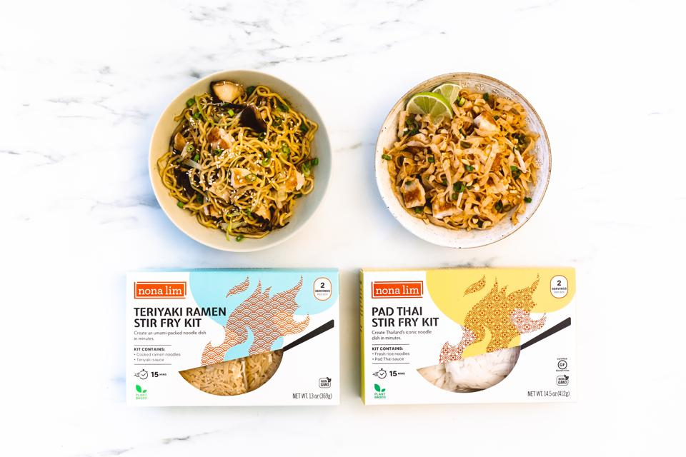 Nona Lim's stir fry noodle kits which were launched on Kickstarter and raised over $40k to launch the product, backed by 577 supporters.