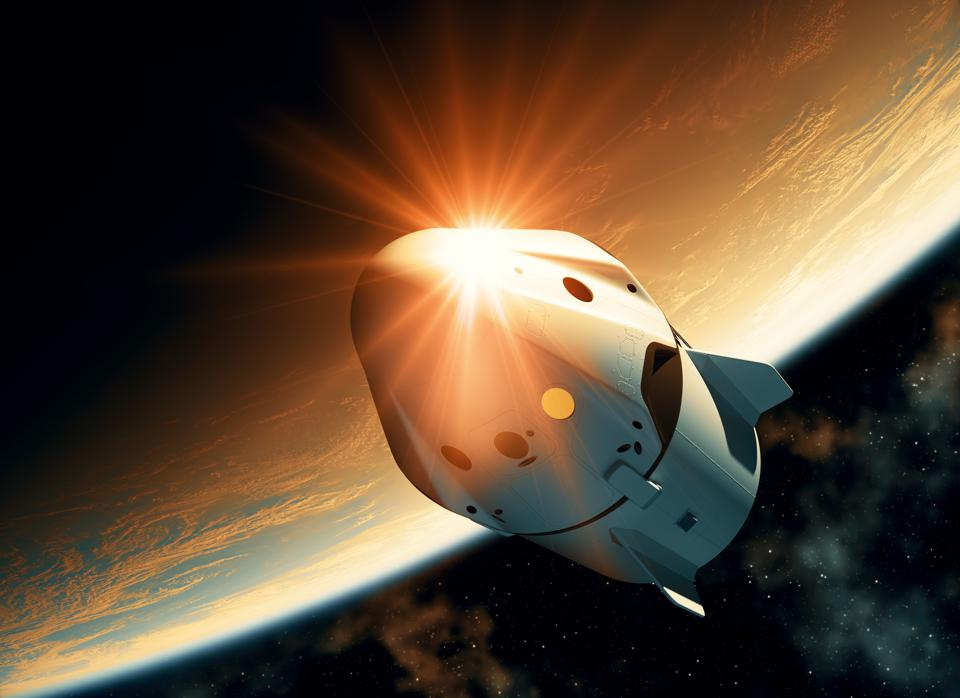 Sun Reflection On The Surface Of A Spacecraft Flying In Outer Space