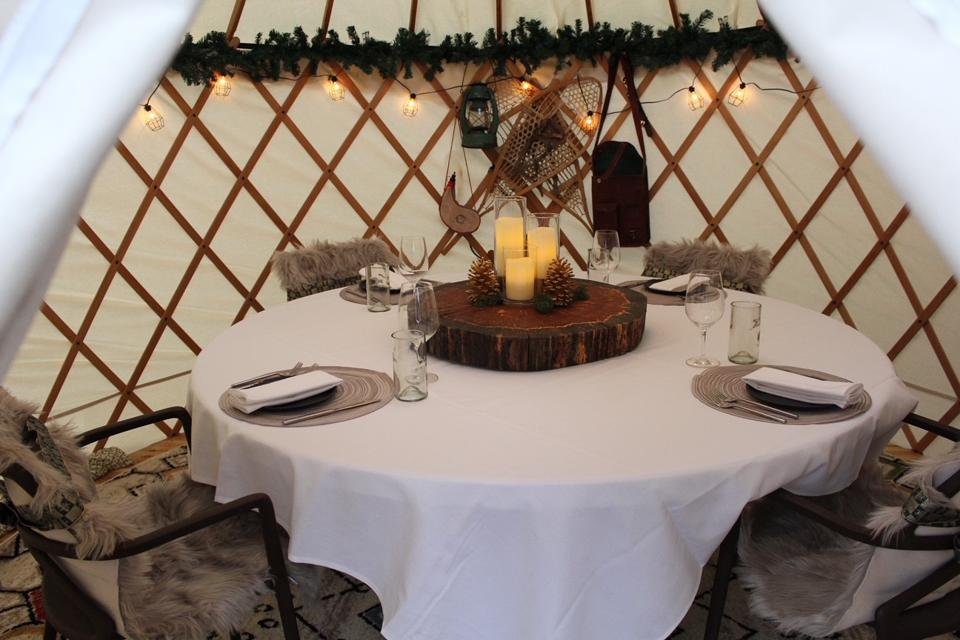 A heated yurt at Aurum Food & Wine in Breckenridge, Colorado