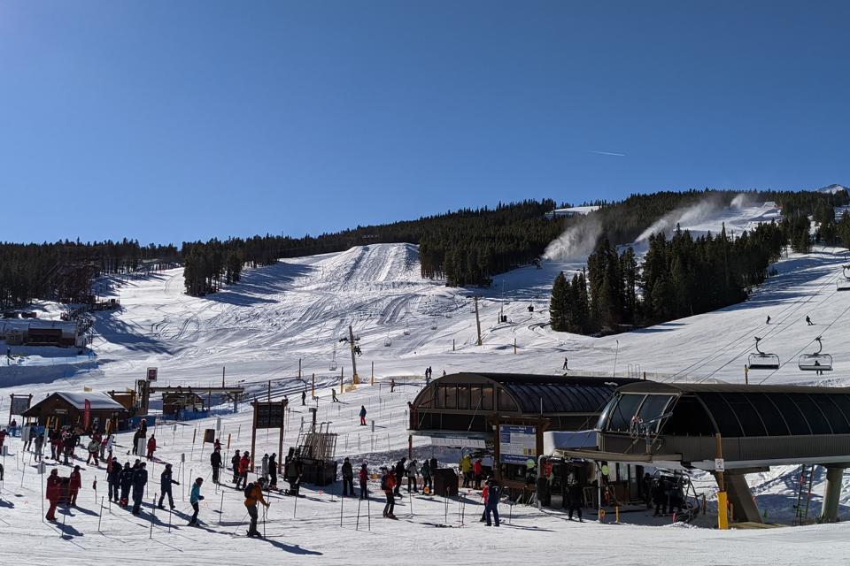 Lift lines at the base of Peak 8 at Breckenridge Ski Resort in Breckenridge, Colorado
