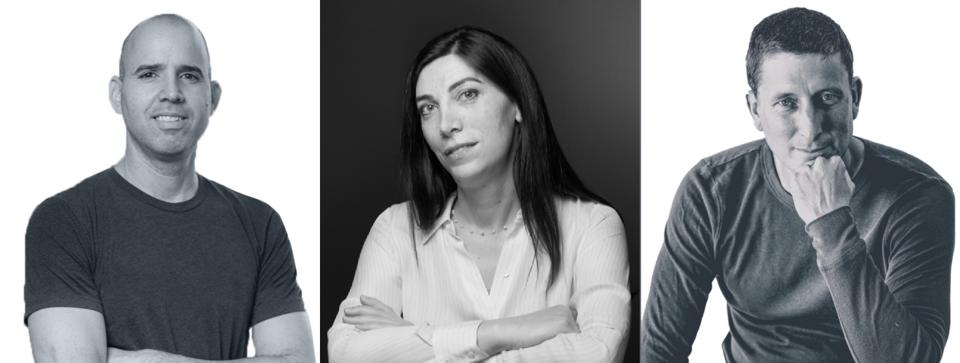 Three black and white business headshots of a man, a woman, and another man, all looking at camera