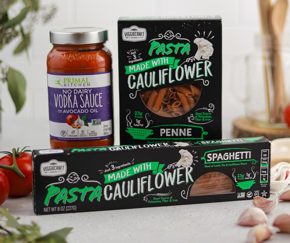 Boxes of cauliflower pasta and vegan sauce
