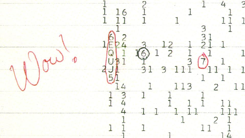 This scanned, color copy of the original 'Wow!' signal printout shows the signal, circled.