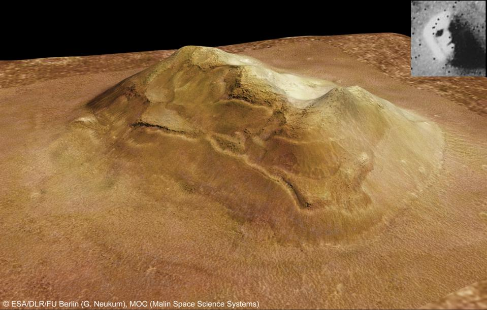 The original image of a face on Mars, upper right, was just a natural feature.