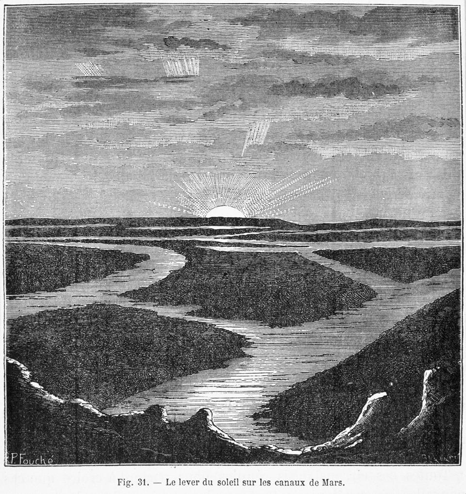 Martian canals, from 'Les Terres du Ciel' (The Worlds of the Sky) by C. Flammarion, 1884.