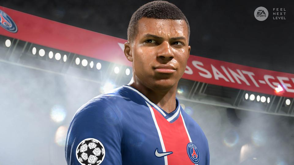 Image of Kylian Mbappe on cover of EA Sports' FIFA 21 video game.