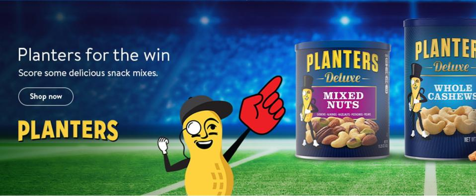 Planters ad running above the fold when searching for ″snacks″ on Walmart.com