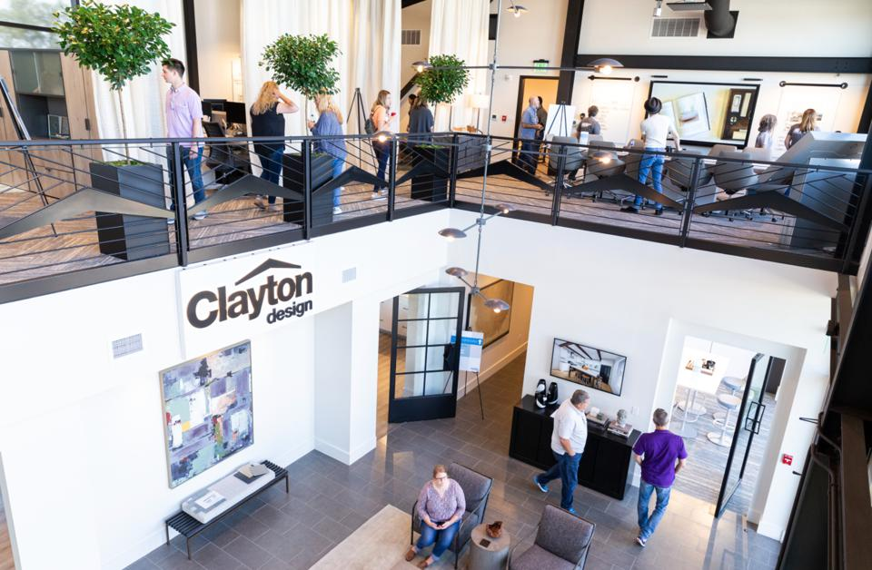 Interior view of Clayton Innovation Lab with people meeting.