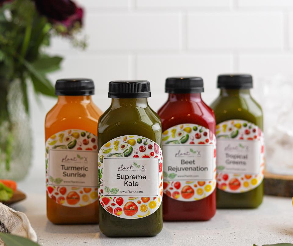 Bottles of fresh pressed fruit and vegetable juices