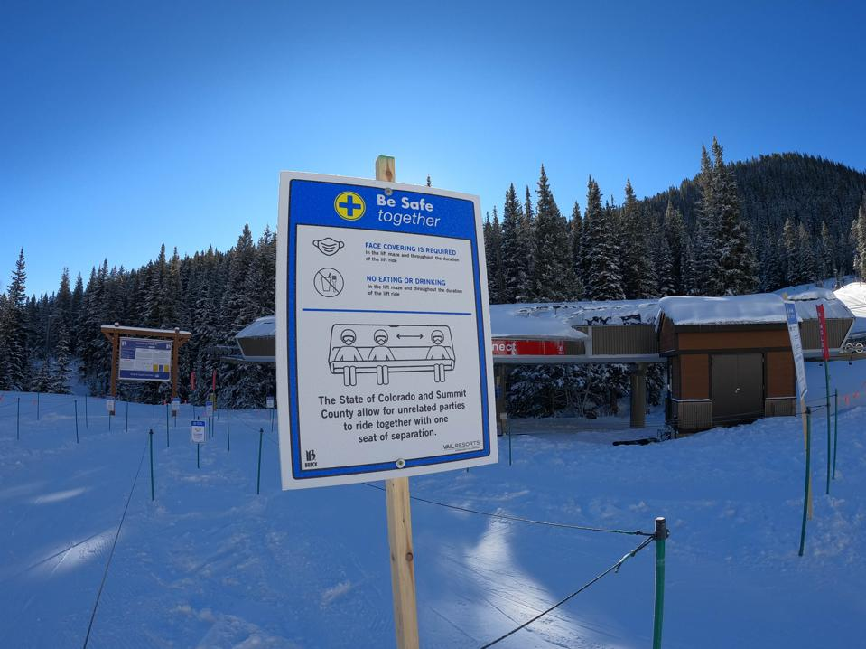 Signage reminding skiers and riders of lift restrictions this season