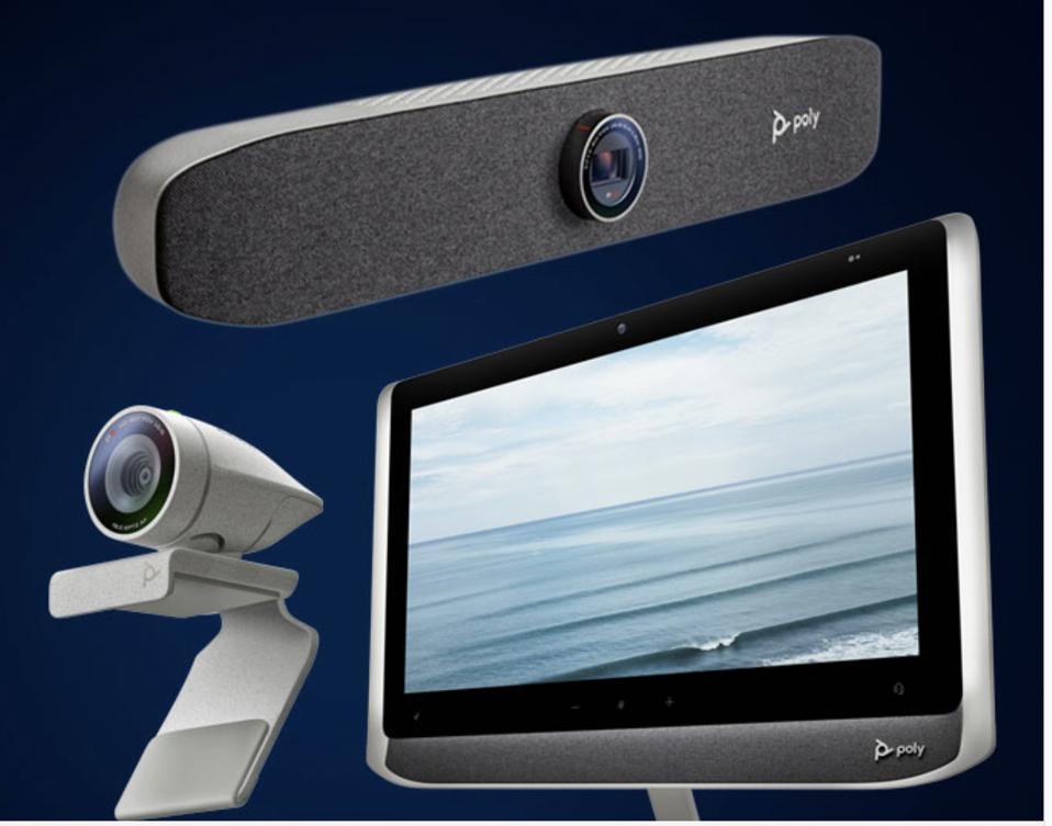 Poly Studio P5 Webcam, Poly Studio P15 Personal Video Bar, Poly Studio P21 Personal Meeting Display