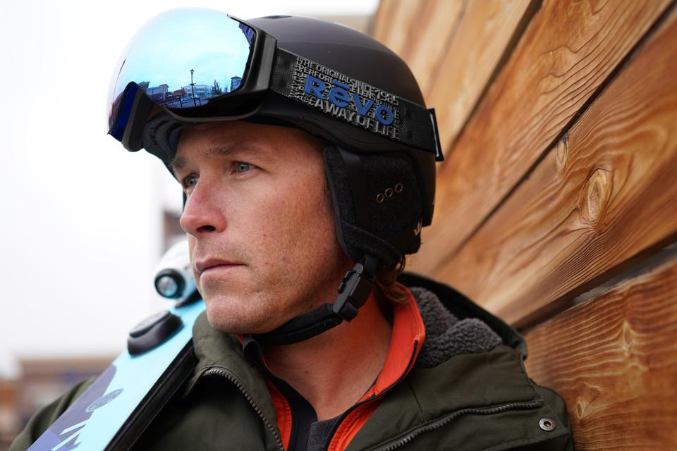 Bode Miller wearing goggles from his new Revo x Bode Miller Goggle capsule collection