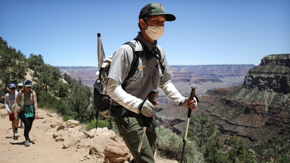 Grand Canyon national park ranger in face mask