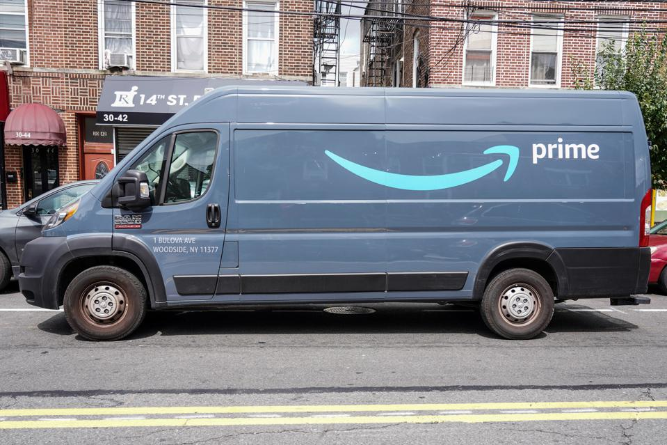 An Amazon Prime delivery truck seen parked on the street...