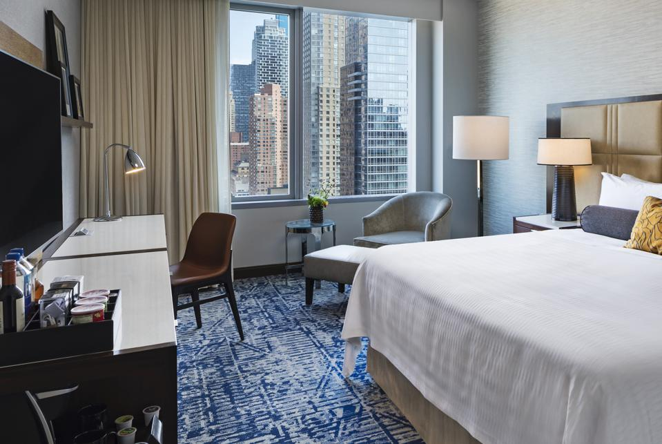 hotel room with new york city skyscraper view