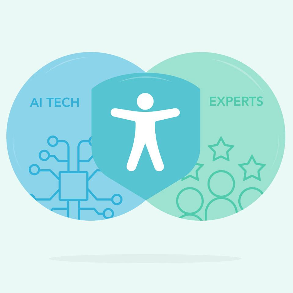 Accessibility logo with the words ″AI Tech″ and ″Experts″ on both sides