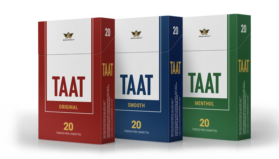 Taat's tobacco-free cigarettes come in three varieties