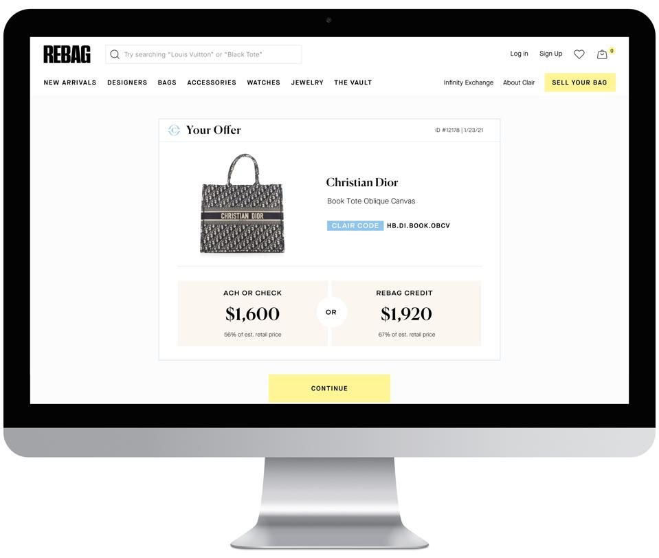 Rebag's new Clair AI technology provides sellers with the value of their handbag based on a single photo of the item. Here, Dior's tote.